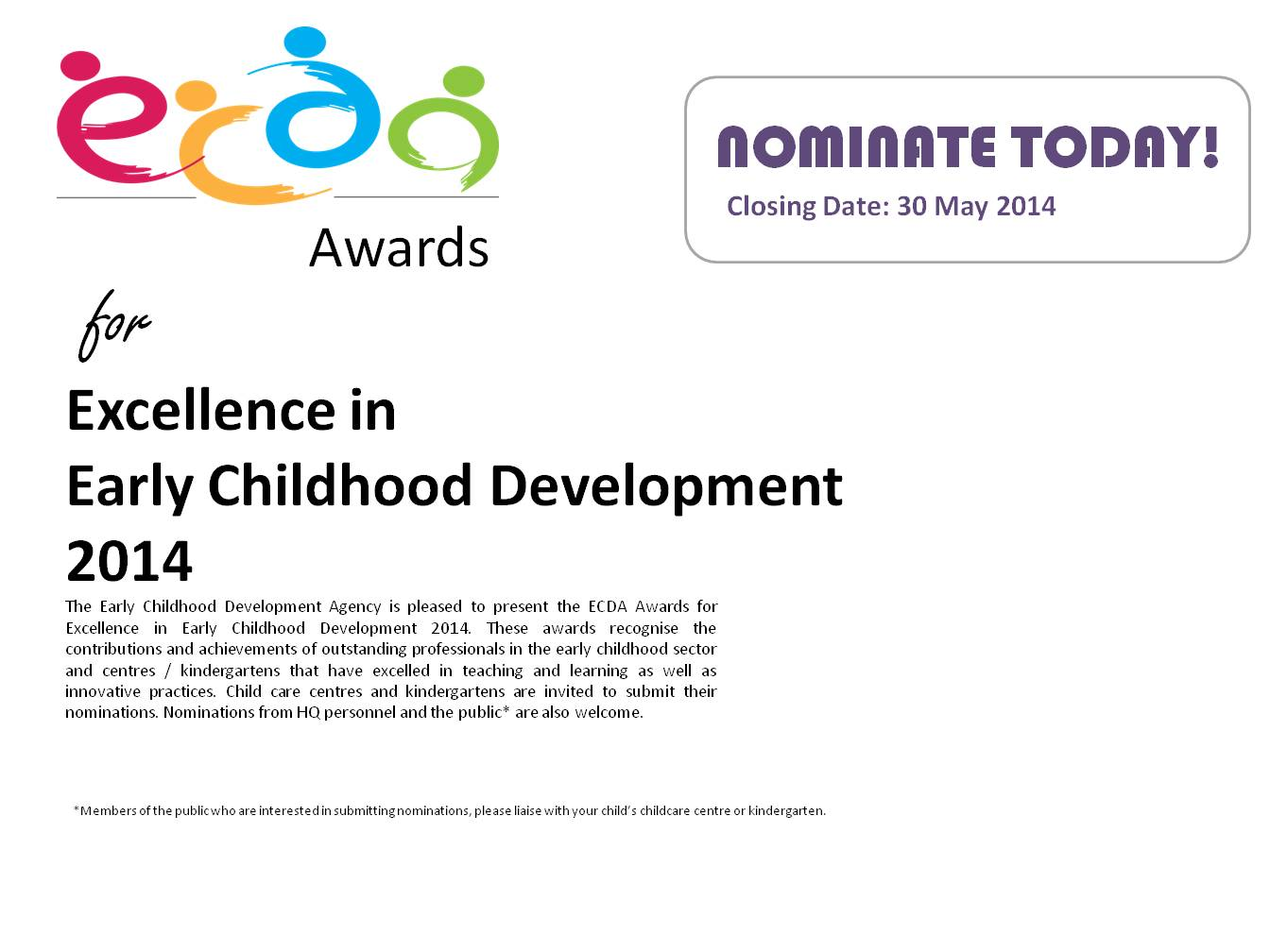 ECDA Awards for Excellence in Early Childhood Development 2014