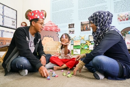 Parents are frequently invited to join the children in their lessons at the Malay Heritage Gallery