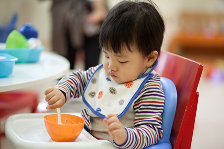 Let baby try Asian style porridge at 8 - 10 months