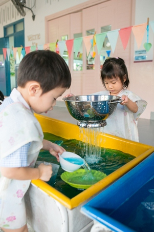 Provide ladles, scoops and a variety of containters for your child to play!